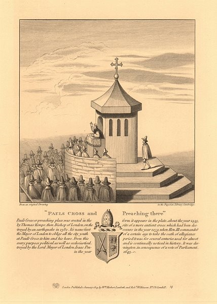 Associate Product ST PAUL'S CROSS, London. Clergyman preaching. St Paul's Cathedral. 1834 print