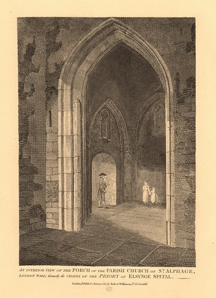Associate Product ST ALPHAGE LONDON WALL. Interior view. Formerly Elsing Spital priory church 1834