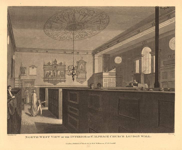 Associate Product ST ALPHAGE LONDON WALL. North west interior view. WILKINSON 1834 old print