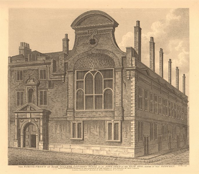 Associate Product SION COLLEGE, LONDON WALL in 1800, before being rebuilt. WILKINSON 1834 print