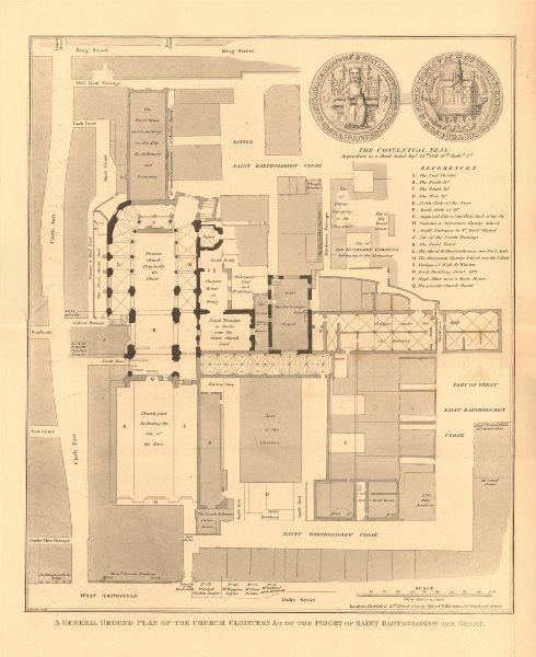Associate Product Plan of ST BARTHOLOMEW THE GREAT, West Smithfield. Cloth Fair. London 1834
