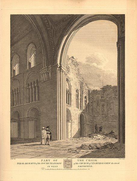Associate Product ST BARTHOLOMEW THE GREAT, West Smithfield. Choir & south transept 1834 print