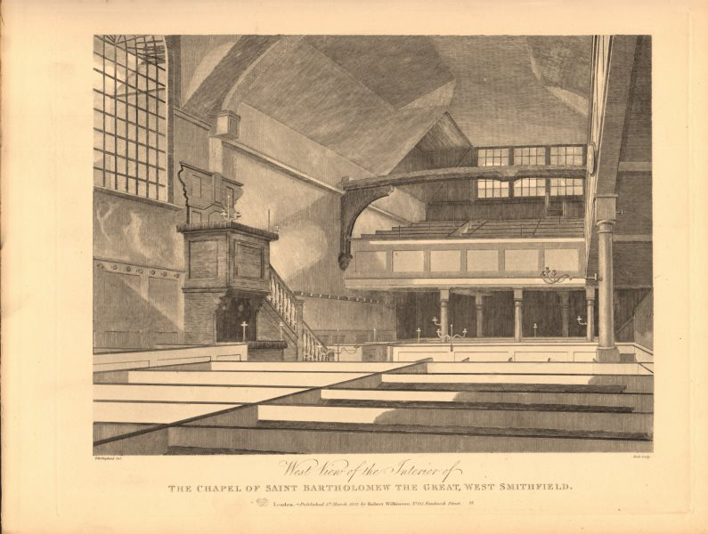 Associate Product ST BARTHOLOMEW THE GREAT, West Smithfield. Chapel. London. WILKINSON 1834