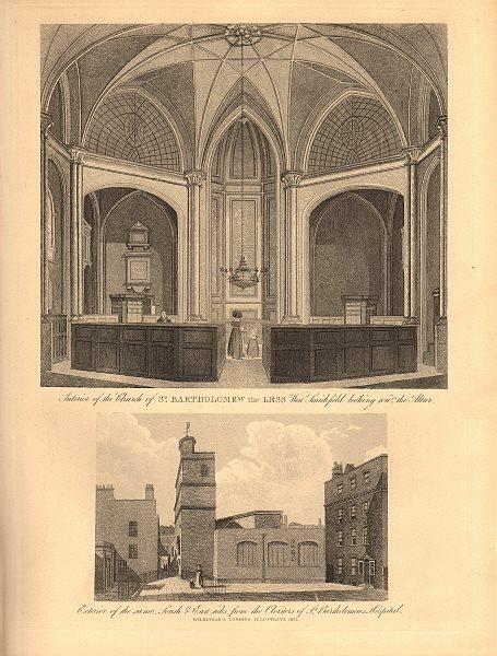 Associate Product ST BARTHOLOMEW THE LESS, West Smithfield. Interior & exterior views 1834 print