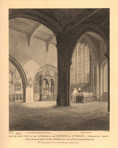 Associate Product ST HELEN BISHOPSGATE. Interior of the church. London. WILKINSON 1834 old print