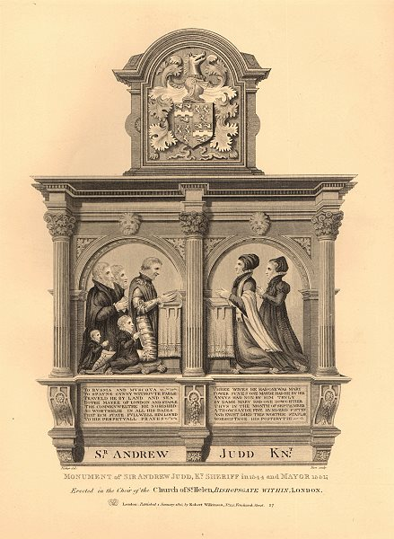 Associate Product ST HELEN BISHOPSGATE. Sir Andrew Judd monument, Kt. Sheriff & Mayor 1834 print
