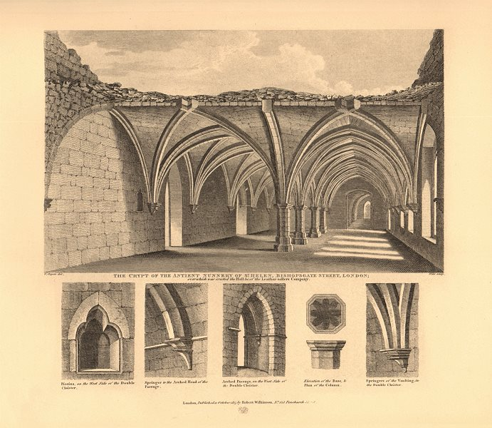 Associate Product ST HELEN BISHOPSGATE. Crypt of the ancient Nunnery. London. WILKINSON 1834