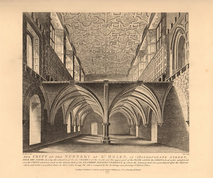 Associate Product ST HELEN BISHOPSGATE. Nunnery crypt, from the north. London. WILKINSON 1834