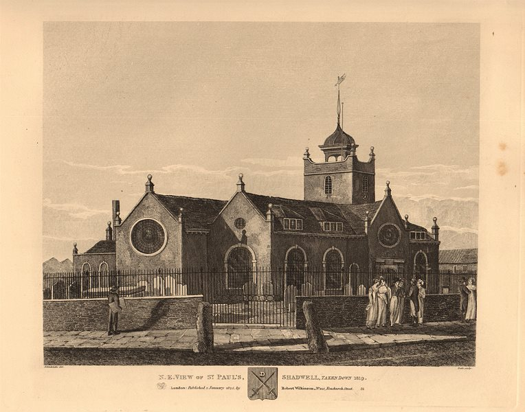Associate Product ST PAUL'S SHADWELL. North East view. Demolished 1819. London church 1834 print