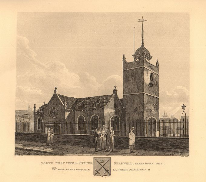 Associate Product ST PAUL'S SHADWELL. North west view. Demolished 1817. London church 1834 print