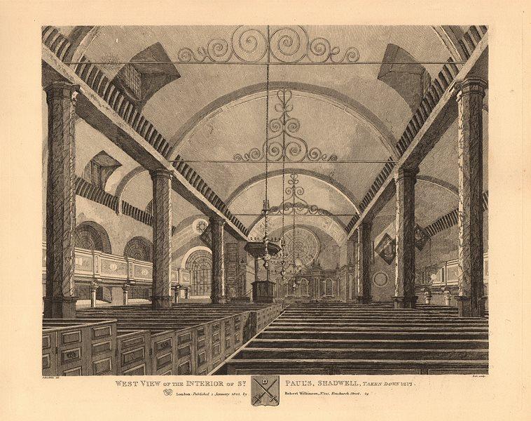 Associate Product ST PAUL'S SHADWELL. Interior view. Demolished 1817. London church 1834 print