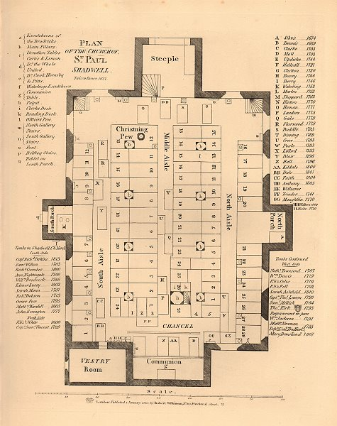 Associate Product ST PAUL'S SHADWELL. Plan of the old church, taken down 1817. WILKINSON 1834 map