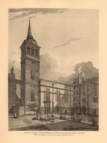 Associate Product ST PETER UPON CORNHILL. South view of the church. London. WILKINSON 1834 print