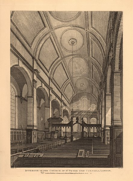 ST PETER UPON CORNHILL. Interior view of the church. London. WILKINSON 1834