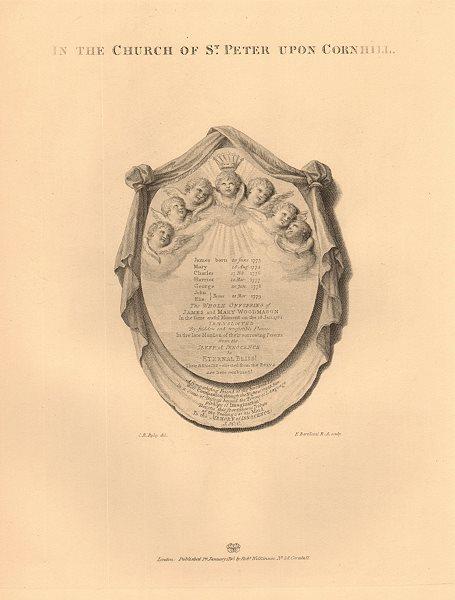 Associate Product ST PETER UPON CORNHILL. Plaque commemorating 7 children burnt to death 1834