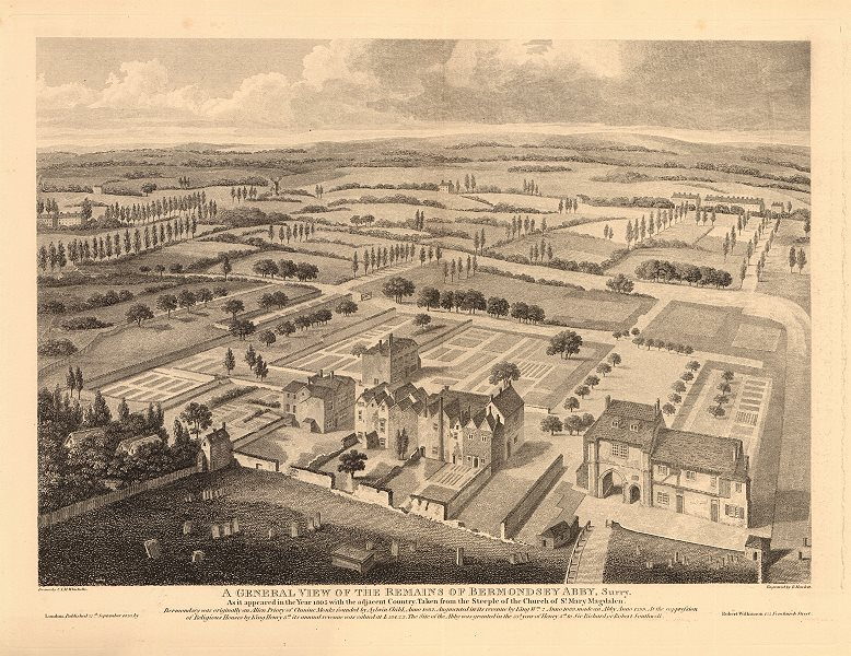 Associate Product BERMONDSEY ABBEY in 1805. On the site of Bermondsey Square/Market 1834 print