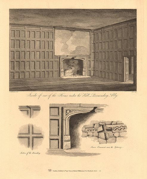 Associate Product BERMONDSEY ABBEY interior of room below the hall. Site of the Market/Square 1834