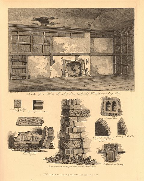 Associate Product BERMONDSEY ABBEY interior of room adjoining those under the Hall 1834 print