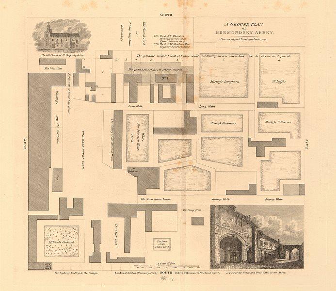 Associate Product BERMONDSEY ABBEY ground plan. On the site of Bermondsey Market/Square 1834 map