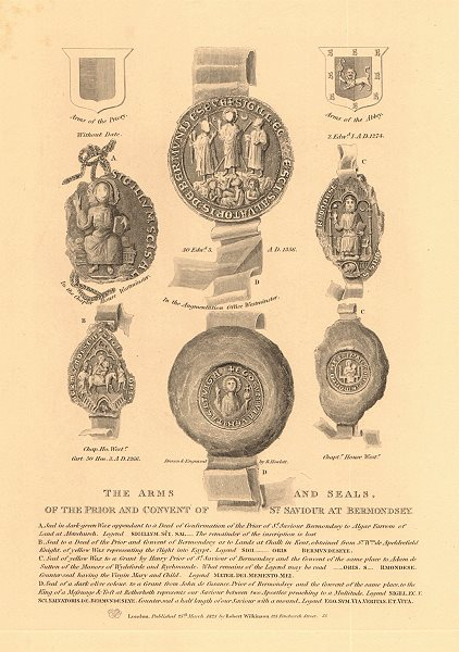 Associate Product BERMONDSEY ABBEY. Arms & Seals, of the Prior and Convent of St. Saviour 1834