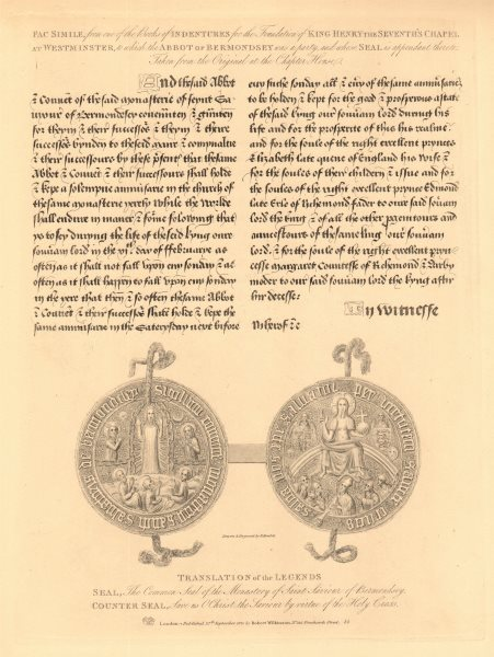 Associate Product BERMONDSEY ABBEY. Seals of the Monastery of Saint Saviour. WILKINSON 1834