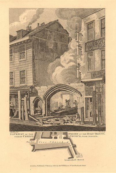 Associate Product ALDGATE. Holy Trinity Priory gateway, Creechurch Lane/Bury Street 1834 old map