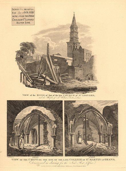 Associate Product FOSTER LANE CHURCHES. St Leonard ruins & ST VEDAST. City of London 1834 print