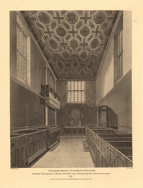 Associate Product CHAPEL ROYAL, ST JAMES'S PALACE. Interior. Formerly a female leper house 1834
