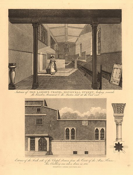 Associate Product OLD LAMBE'S CHAPEL, Monkwell Street (now Monkwell Square). City of London 1834