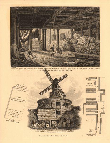 Associate Product BANKSIDE. Rev Skelton's Meeting House, Maid Lane/Park Street. Windmill 1834 map