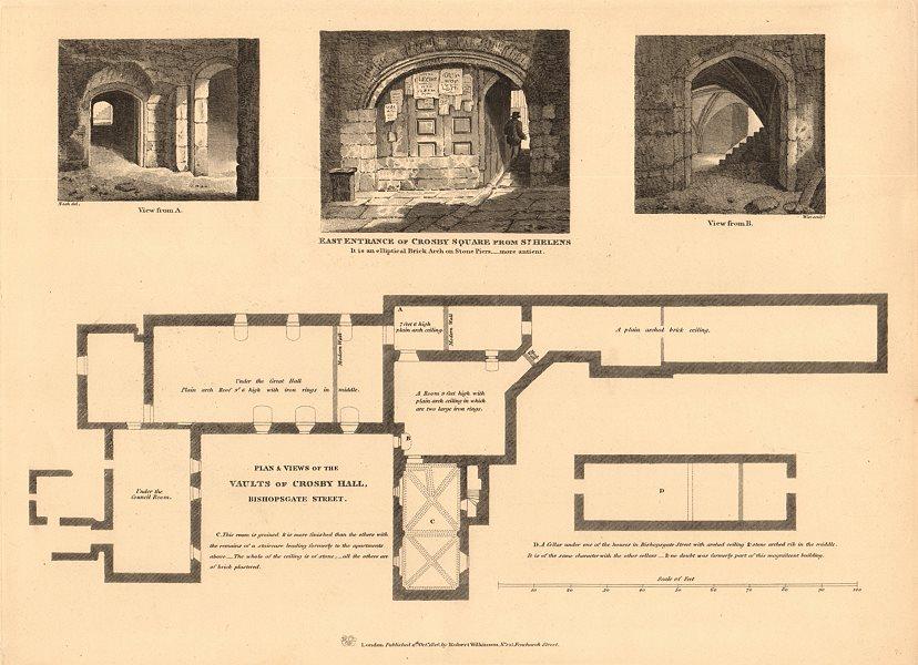 Associate Product CROSBY HALL. Bishopsgate, now Cheyne Walk, Chelsea. Vaults plan & views 1834 map
