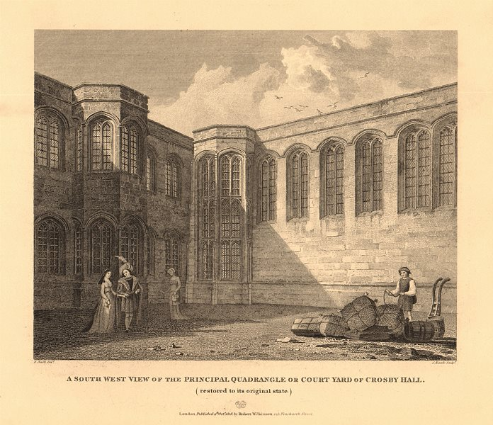 Associate Product CROSBY HALL. Bishopsgate, now Cheyne Walk, Chelsea. Main Quadrangle 1834 print