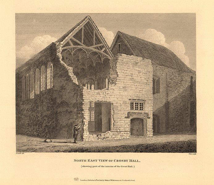 Associate Product CROSBY HALL. Bishopsgate, now Cheyne Walk, Chelsea. North east view 1834 print