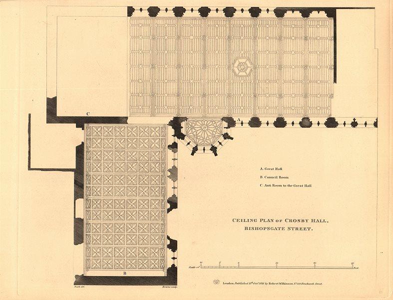 Associate Product CROSBY HALL. Bishopsgate, now Cheyne Walk, Chelsea. Ceiling plan 1834 old map