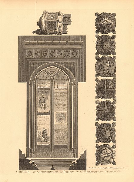 Associate Product CROSBY HALL. Bishopsgate, now Cheyne Walk, Chelsea. Archiectural details 1834
