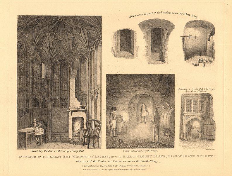 Associate Product CROSBY HALL. Bishopsgate, now Cheyne Walk, Chelsea. Bay window 1834 old print