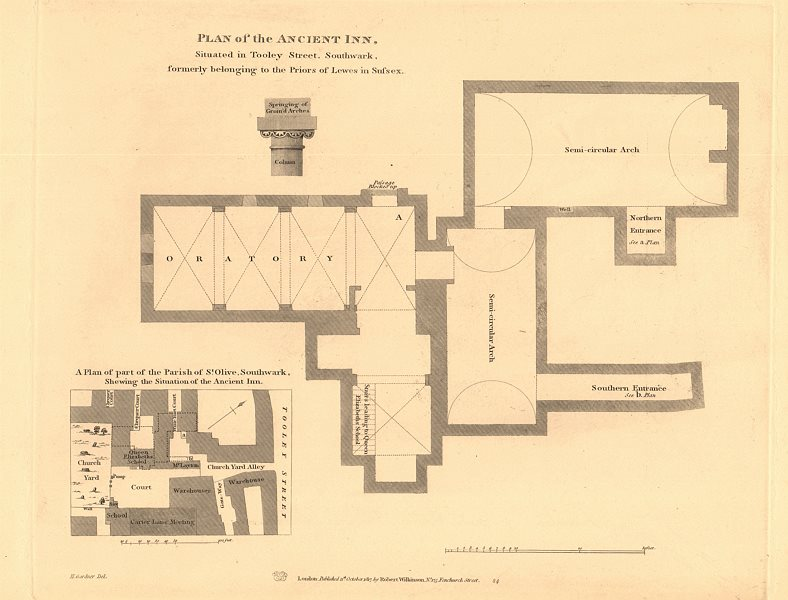 Associate Product TOOLEY STREET, SOUTHWARK. Plan of the Lewes (Sussex) Priors' Inn 1834 old map