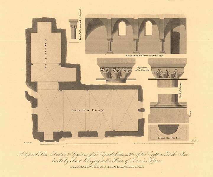 Associate Product TOOLEY STREET, SOUTHWARK. Plan Capitals Elevation. Lewes Priors' Inn 1834 map