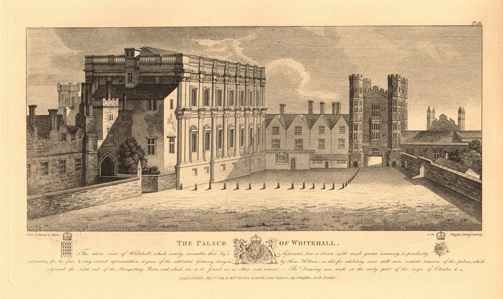 Associate Product PALACE OF WHITEHALL in Charles I's reign. Banqueting House. After HOLLAR 1834