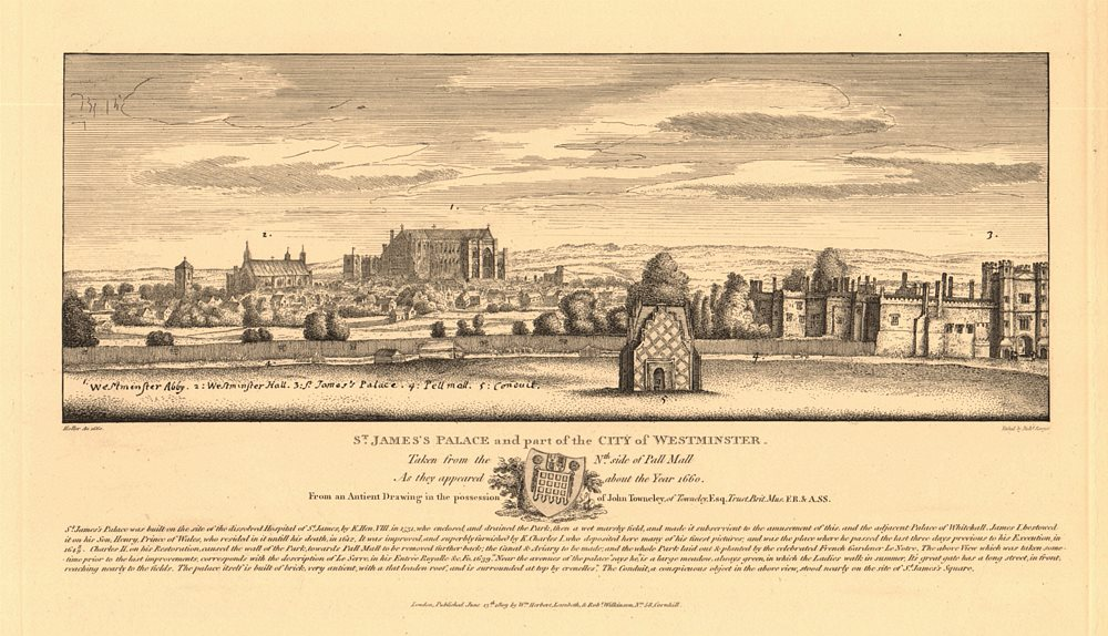 Associate Product WESTMINSTER & ST JAMES'S PALACE in 1660 from Pall Mall. Hall Abbey. HOLLAR 1834