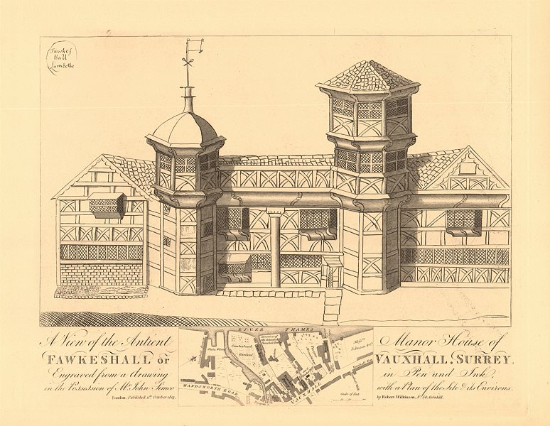 Associate Product VAUXHALL or Fawkeshall. Manor House & map. Wandsworth Road. WILKINSON 1834