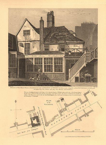 Associate Product TOTENHALL MANOR HOUSE.Tottenham Court/Euston Road.Adam & Eve Tea House 1834 map
