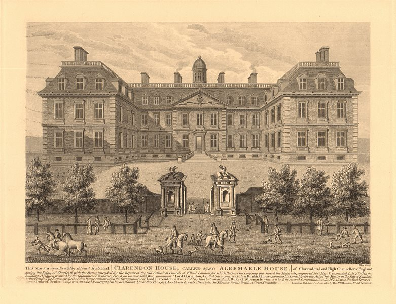 Associate Product CLARENDON aka ALBEMARLE HOUSE on the site of Grafton Street, Piccadilly 1834