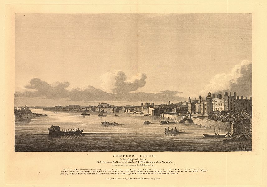 Associate Product View of London from the Thames 1635. Westminster, Whitehall, Somerset House 1834