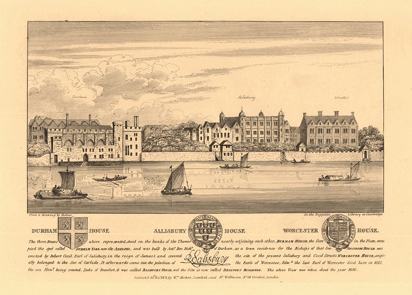 Associate Product STRAND MANSIONS Durham/Salisbury (Cecil)/Worcester Houses c1630. HOLLAR 1834