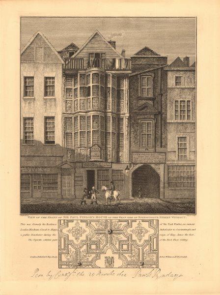 Associate Product BISHOPSGATE. Sir Paul Pindar's house (west side). City of London 1834 print