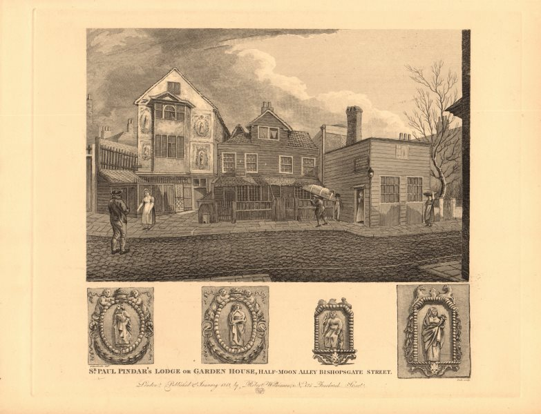 Associate Product BISHOPSGATE. Sir Paul Pindar's Lodge or Garden House, Half-Moon Alley 1834