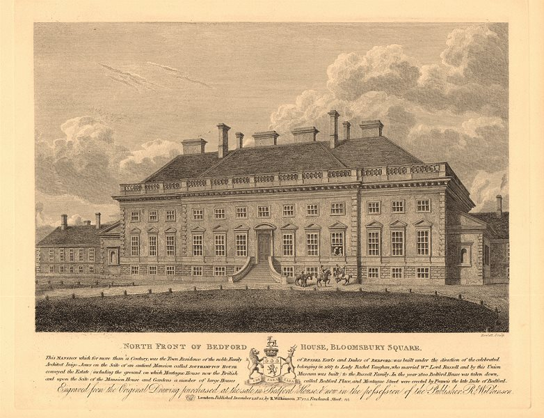 Associate Product BEDFORD HOUSE, Bloomsbury Square. Now Bedford Place/Montague Street 1834 print