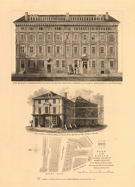 Associate Product CRAVEN HOUSE & ESTATE Queen of Bohemia's Palace Drury Lane Wych Street 1834 map