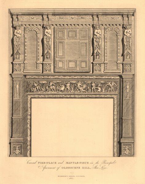 Associate Product OLDBOURNE HALL, Shoe Lane, Holborn. Carved Fireplace & mantlepiece 1834 print
